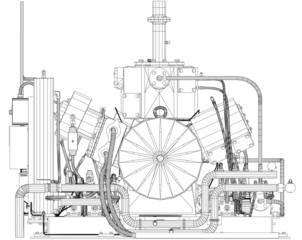 Wire-frame industrial equipment engine. EPS 10 vector format