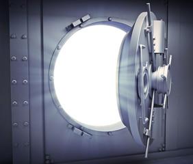 Opened door to a bank vault