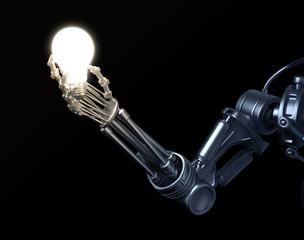 Robot holding a lightbulb