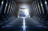 Earth seen from inside a space station - 79901815