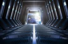 """Постер, картина, фотообои """"Earth seen from inside a space station"""""""