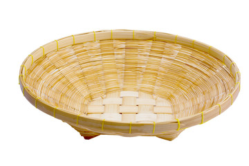 Basket bamboo on white background.