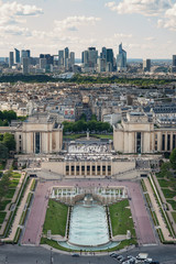 Trocadero aerial view and modern buildings in the background fro