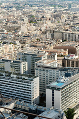 Aerial view of modern buildings from the Eiffel Tower, Paris.