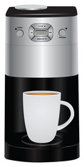 Coffee pot and cup of coffee