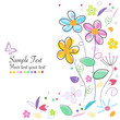 Decorative spring flowers abstract greeting card