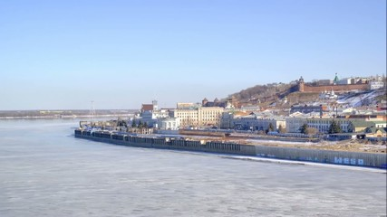 View of the city, ancient Kremlin and Volga River