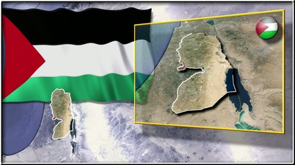 Palestine flag and map animation FULL-HD