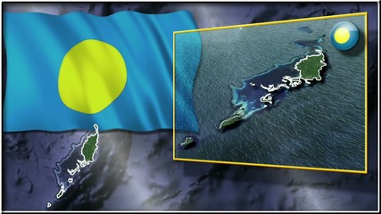 Palau flag and map animation FULL-HD