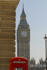 Telephone booth and parliament buildings