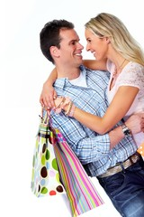 Loving couple with gift.
