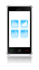 Touchscreen smartphone with wireless communications icons. Vecto