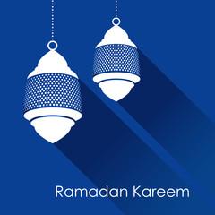 Arabic lamp, lantern with long shadows, vector illustration