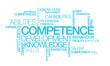 Competence development skills word tag cloud illustration