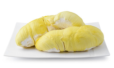 Durian on white plate