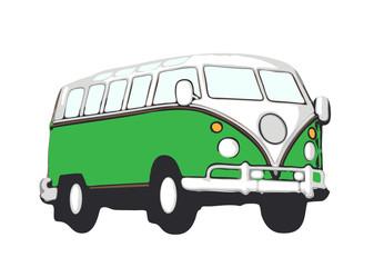 grüner vw bus hippie