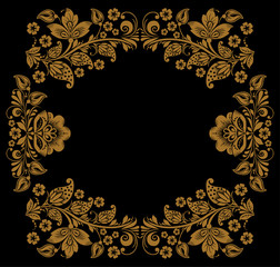 background of floral pattern with traditional russian flower