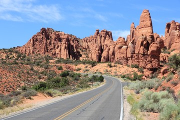 Utah scenic road - Arches National Park
