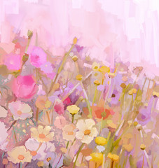 Flowers field oil painting,soft color-blur style