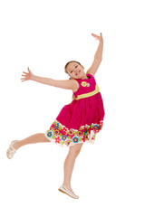 cheerful girl in a jump, hands wide apart
