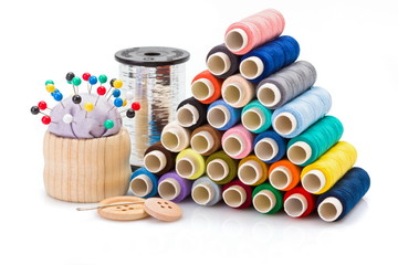 Colorful sewing threads and other sewing accessories