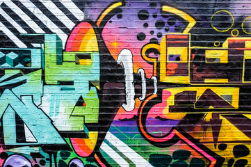 Abstract speaker and music graffiti