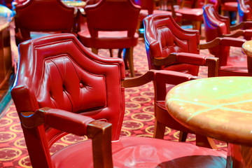 Comfortable red leather chairs