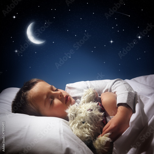 Boy sleeping and dreaming - 79910415