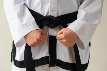 Taekwon-do woman ready for training.