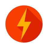 Lightning icon flat design long shadows vector illustration - 79911654