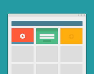 Simple browser window create website on blue background