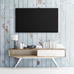 mock up tv on wooden wall, 3d illustration