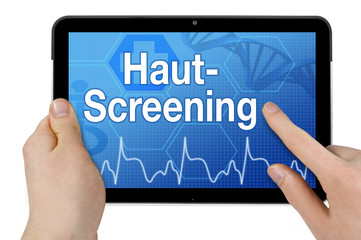 Tablet mit Interface und Hautscreening