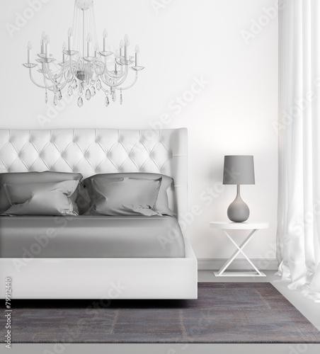 Contemporary elegant luxury white bedroom - 79912440