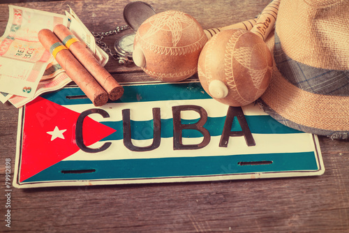 Fotobehang Caraïben Travel to Cuba concept of holiday related items