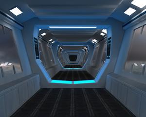 Futuristic interior corridor