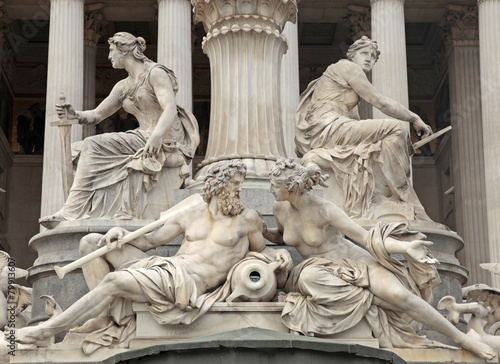 Pallas Athena Fountain in front of the Austrian Parliament in V