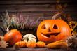 Autumn still life with Halloween pumpkins - 79913867