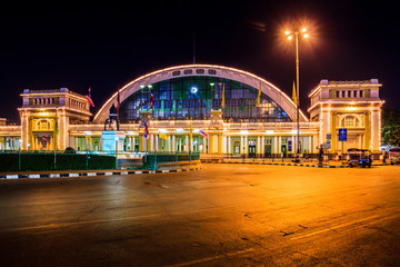 train station center at night,hualamphong, bangkok landmark