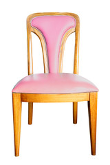 pink chair isolated with clipping path