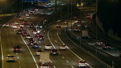 Night scene  time lapse traffic  of entry and exit of Barcelona.