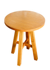 circle wood table isolated with clipping path