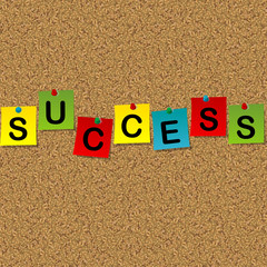 Colored sheets of paper with word Success pinned to a cork messa