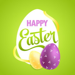 Easter poster with realistic eggs on colorful background