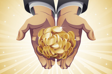 Businessman's Hands Holding Gold Coins