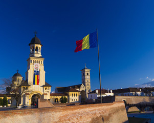 Alba Iulia Fortress and national flag