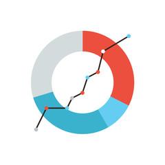 Data analysis flat line icon concept