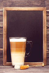 Cappuccino and  menu board with space for text