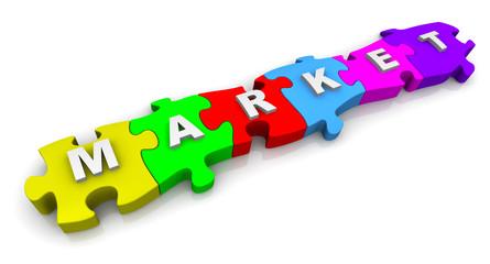 Рынок (market). Надпись на разноцветных пазлах
