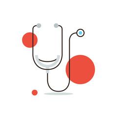 Medical diagnostics flat line icon concept